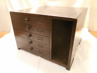 Vintage Chestnut Wood 78rpm Record Storage Chest Japanese Drawers C1930s #648