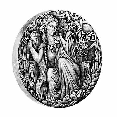 2017 Tuvalu, Norse Goddesses - Freya, 2oz silver antique finish coin, Perth Mint
