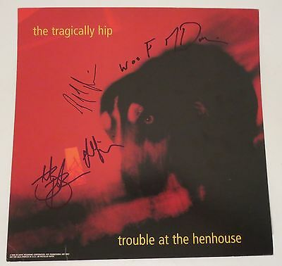 The Tragically Hip SIGNED Trouble Henhouse 12x12 Poster Flat Gord Downie JSA