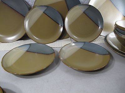 """SANGO Gold Dust Green 5040  Square Salad Plate Set of 4 Stoneware 7-3/4"""" INCH"""