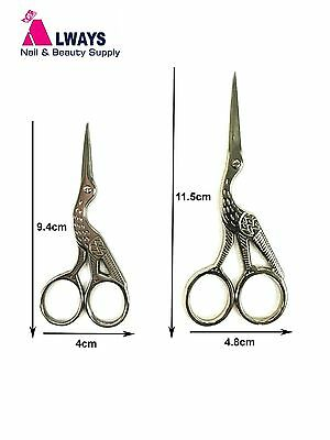 Stainless Steel Scissors Stork Embroidery Sewing Eyebrow Waxing Nail Art Tools