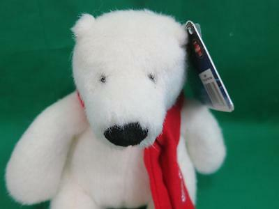 New Plush 2007 Coca-Cola White Polar Bear Red Scarf Christmas Plush Stuffed Toy
