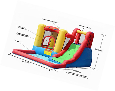 Bounceland Inflatable Bouncers Water Slide House Jump And Splash Park Outdoor