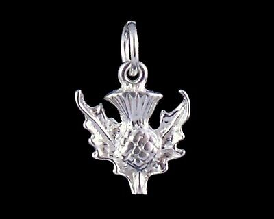 Scottish Thistle Charm sterling silver 925 charmmakers 3D
