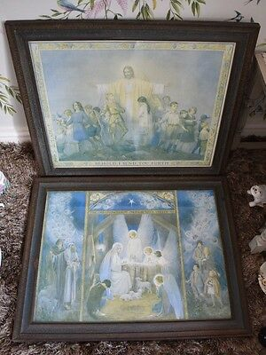 Pair Of Vintage Large Glazed Framed Religious Pictures Ready To Hang