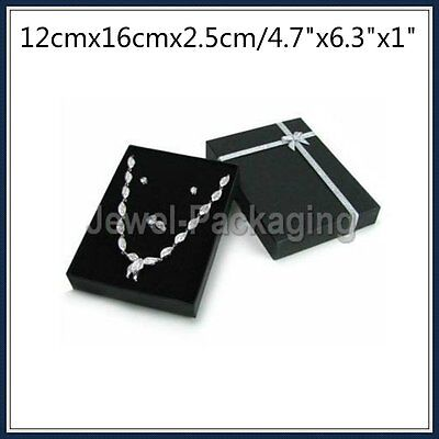 2 4 5 10 Large Jewellery Black Necklace Earring Gift Ring Boxes Cardboard 12x16