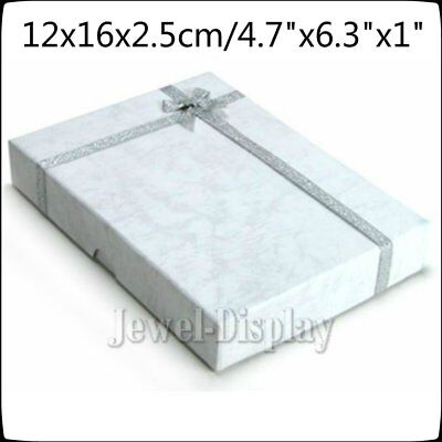 10 x Large Jewellery White Necklace Earring Gift Ring Boxes Cardboard 12x16x2.5