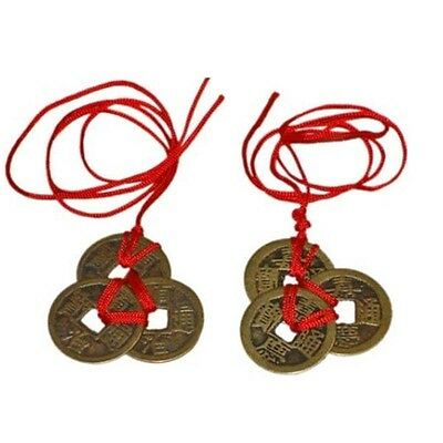 2 x Lot Feng Shui Lucky Chinese I-Ching 1 inch Coins Set of 3, Red Ribbon Ching