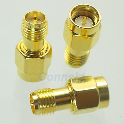 1pce SMA male plug to RP-SMA female plug RF coaxial adapter connector