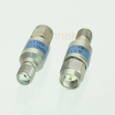 1pce SMA male to female 2W Stainless steel Coaxial Attenuator DC-6GHz 10dB