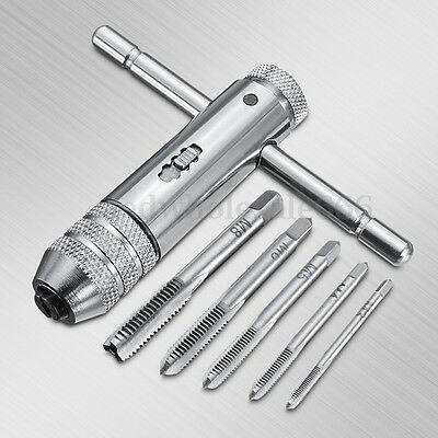 M3-M8 T-Handle Ratchet Tap Wrench Machinist Tool With 5Pcs Screw Thread 3-8mm US