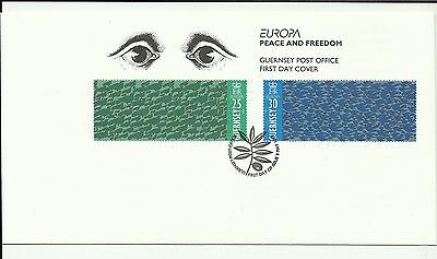 GUERNSEY 1955 Europa - Peace & Freedom on unaddressed First Day Cover with SHS