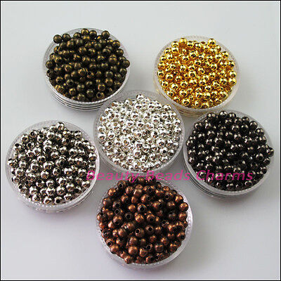 15 New Gold Silver Black Plated Round Ball Metal Spacer Beads Charms 10mm