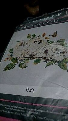 "Crewel Embroidery Kit Penelope Owls. 12"" x 16"" ins Vintage"