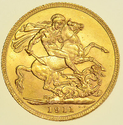 1911 C SOVEREIGN, OTTAWA, CANADA MINT, BRITISH GOLD COIN FROM GEORGE V aBU