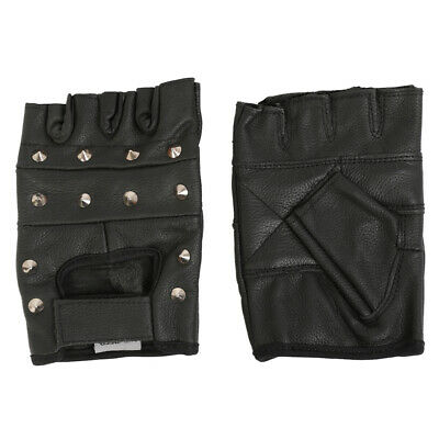 Quality Real Cowhide Leather Fingerless Studded Style Biker Motorbike Gloves