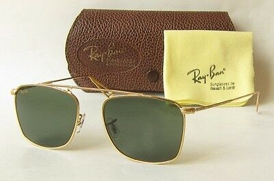 NEW NOS 80s VINTAGE COLLECTION B&L RAY BAN USA SQUARE GOLD SUNGLASSES W1698 BL