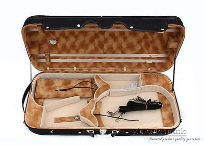 4/4-1/4 14''-16'' Double Violin Viola Case Wood Struct Strong Adjustable Size