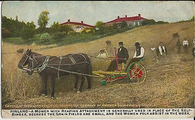 International Harvester mower and workers in Finland on old advert postcard