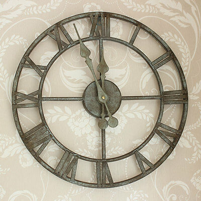 Industrial large Skeleton Wall Clock kitchen garden vintage shabby rustic chic