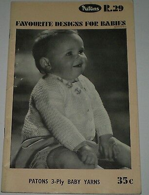"Vintage  Patons Knitting Book R.29 ""favourite Designs For Babies  (#kn-268)"