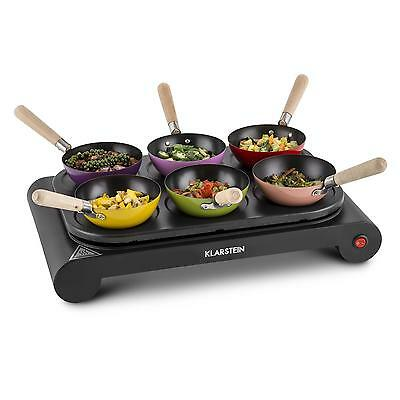 [RECONDITIONNÉ]  Klarstein Wok & Roll 6 Set party woks 1000W 29,5cm Ø 6 personne