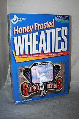 TROY AIKMAN Cowboys Super Bowl XXVII 1997 HONEY FROSTED WHEATIES Cereal Box