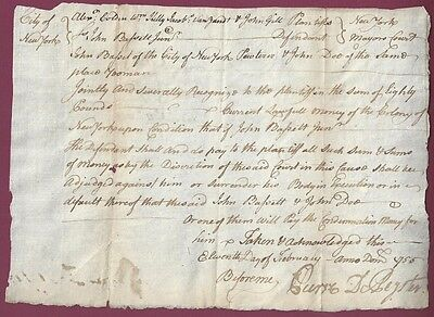 City of New York Arrest Warrant From the Days of Debtor's Prisons, Feb. 11, 1755
