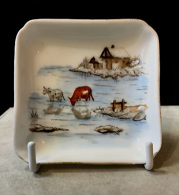 Antique Butter Pat Hand Painted Scene of Cows in Winter