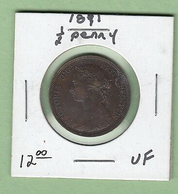 1891 Great Britain 1/2 Penny Coin - Queen Victoria - VF