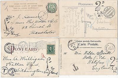 * 1904/08 3 EUROPE & 1 EX USA TO UK PPCs 1d & 2d TAXE MARKINGS & POSTAGE DUES