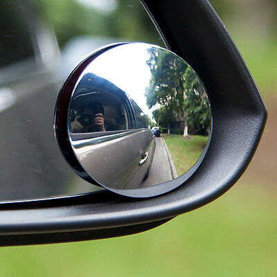 Pair of Round Adjustable Stick-On Car Blind Spot Towing Mirrors  - By TRIXES