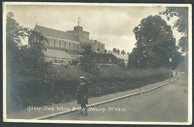 Romsey Hampshire Abbey From White Bridge Vintage Real Photo Postcard