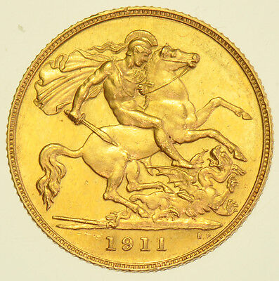 RARE 1911 PROOF HALF SOVEREIGN, BRITISH GOLD COIN FROM GEORGE V aFDC