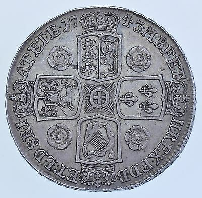 1743 Crown British Silver Coin From George Ii Ef