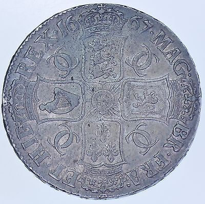 Scarce 1667 Crown, An:reg:error,  British Silver Coin From Charles Ii Vf