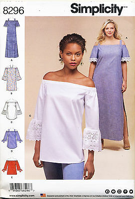 Simplicity Sewing Pattern 8296 Misses 10-18 Off-The-Shoulder Top/tunic & Dress