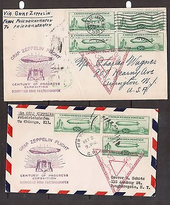 USA #C18 Used Block & Three Singles On Two Covers Graf Zeppelin