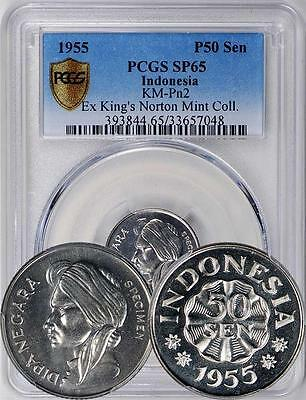 Indonesia 1955 PATTERN 50 Sen PCGS Secure Plus SP-65 - Extremely rare