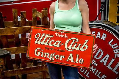 Original PROHIBITION ERA UTICA CLUB Sign GINGER ALE Beer New York Brewery NICE