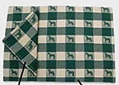 Horsey Kitchen HORSE Design Green Check Placemat set of 4 CLEARANCE SALE