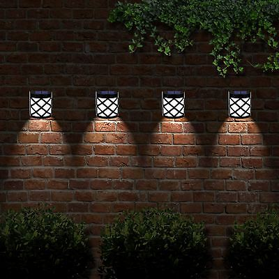 Solar Powered Outdoor Garden Shed Door Fence Wall 6 LED Lights Bright Lighting
