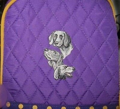 Q lunch WEIMARANER Quilted PURPLE Insulated Fabric Lunch Sack Bag