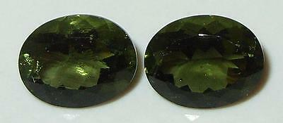 4.24ct Pair Faceted TOP QUALITY Natural Czechoslovakia Moldavite Oval Cut 10x8mm