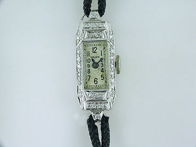 Vintage Antique Gruen 1/2ct Diamond Platinum Art Deco Ladies Wrist Watch