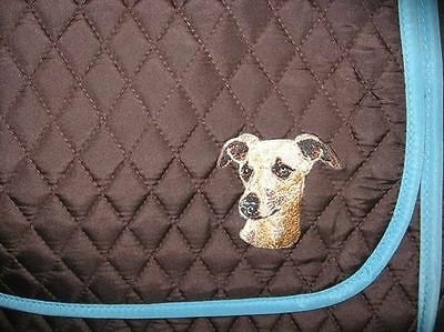 Q purse WHIPPET/GREYHOUND Quilted Brown Microfiber Fabric Purse Messenger/Tablet