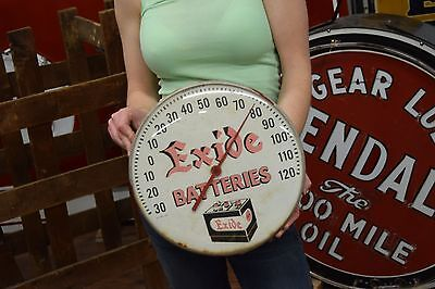 Vintage Exide Batteries Thermometer Sign Gas Station Oil Advertising WORKS Well