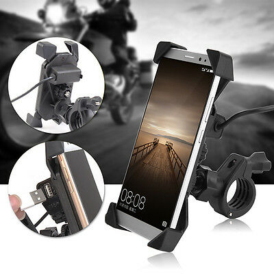Universal Motorcycle Bike Handlebar Mount Holder USB Charger For Cell Phone GPS