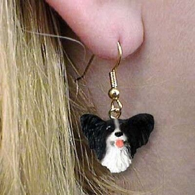 Dangle French Wire PAPILLON BLACK Dangle Dog Head Earrings
