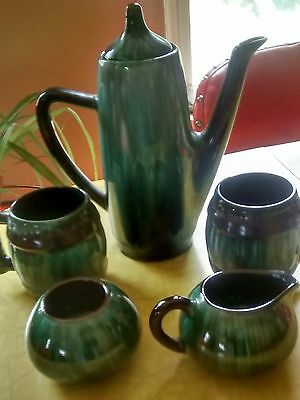 Blue moutain pottery teapot  or coffee 2 mugs creamer and sugar